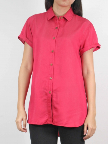 MOON COLLARED CAP SLEEVE LONG SHIRT IN ROSE