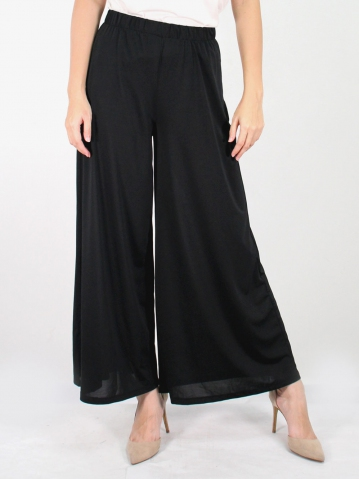 JANE SOLID FLARED LONG PANTS IN BLACK