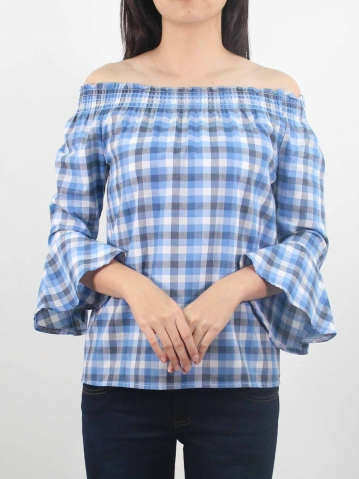 LYNN OFF SHOULDER 3/4 SLEEVE BLOUSE IN MID BLUE