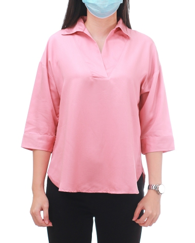 YVONNE COLLARED 3/4 SLEEVE BLOUSE IN MID PINK