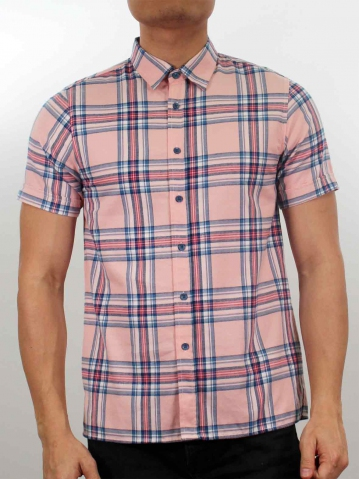 LUCAS COLLARED SHORT SLEEVE CHECK SHIRT IN PINK