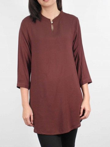 MOON SOLID COLOUR 3/4 SLEEVE TUNIC IN DARK BROWN