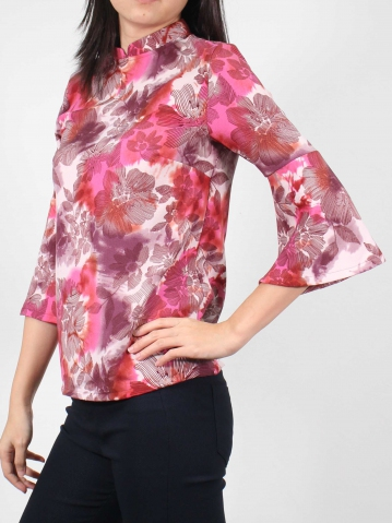 MOLLY PRINTED 3/4 SLEEVE BLOUSE IN MID PURPLE