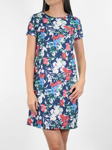 JANE PRINTED SHORT SLEEVE DRESS IN DARK ROYAL