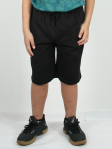HUGO SOLID KNIT BERMUDA SHORTS IN BLACK