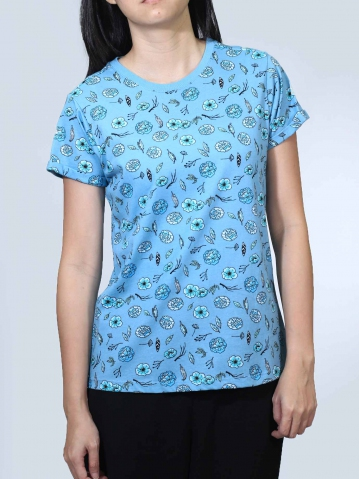 NOEL FLOWER PRINT SHORT SLEEVE TOP IN MID TEAL