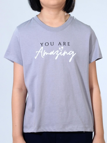 GIRLS YOU ARE AMAZING GRAPHIC TEE IN MID GREY