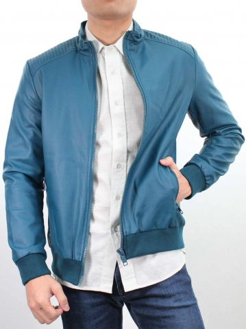 JACK PU LEATHER BIKER JACKET IN DARK TEAL