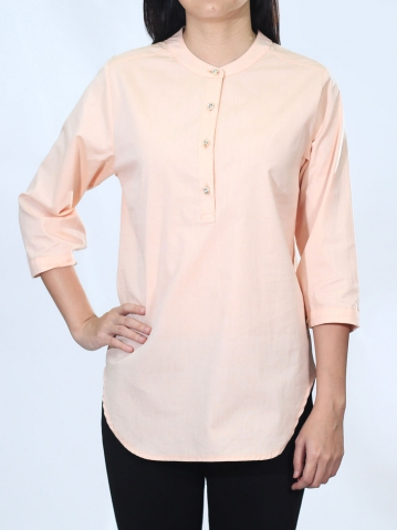 NEOL MANDARIN COLLAR 3/4 SLEEVE BLOUSE IN LIGHT ORANGE