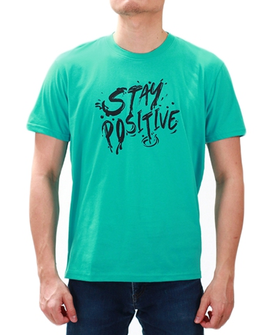 MEN STAY POSITIVE GRAPHIC TEE IN JADE