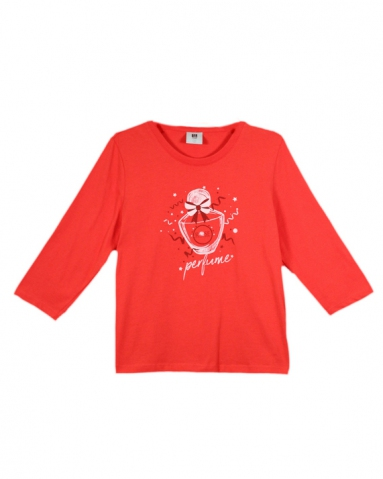 GIRLS ROSE PERFUME GRAPHIC TEE IN DARK ORANGE