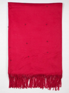 FIONA BEADS TRIM SCARF IN DARK RED