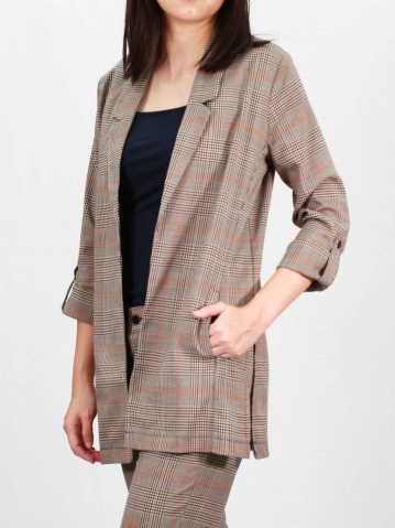 RAINE LONG SLEEVE CHECKED JACKET IN DARK BROWN