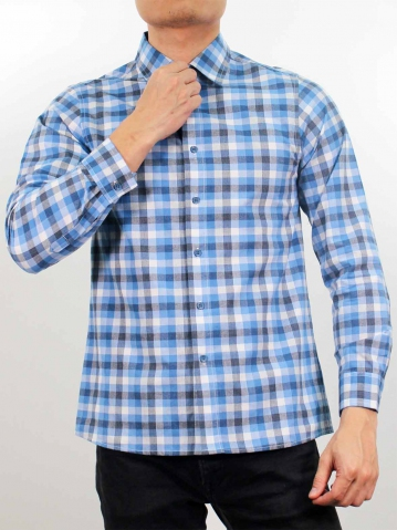 LUCAS COLLARED LONG SLEEVE CHECK SHIRT IN MID BLUE