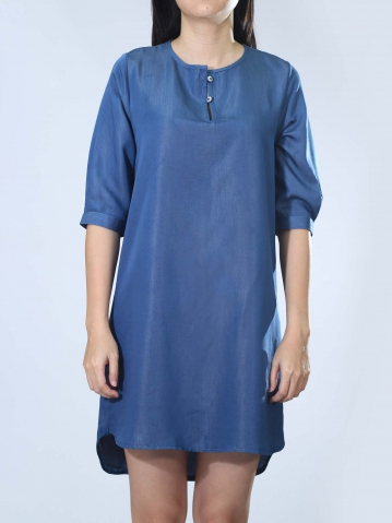 NEOL ROUND NECK 3/4 SLEEVE DRESS IN DARK BLUE