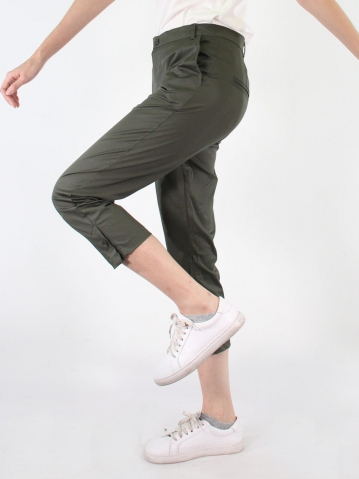 JANE COTTON CROP PANTS IN DARK ARMY