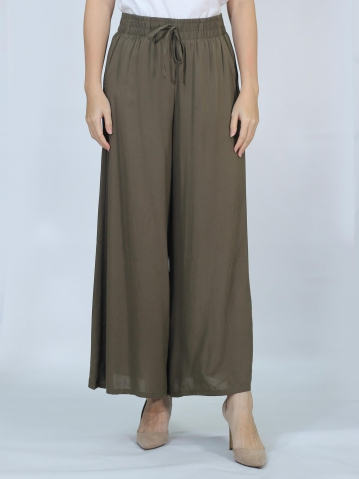 OLIVIA SOLID FLARED LONG PANTS IN DARK ARMY
