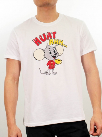 MEN HUAT AHH GRAPHIC TEE IN WHITE