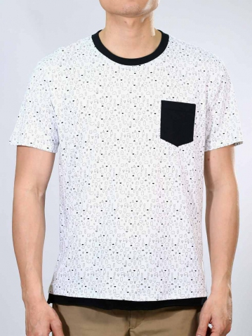 NOAH HOUSE PRINT SHORT SLEEVE TOP IN WHITE