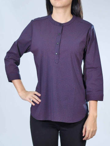 NEOL PRINTED MANDARIN C 3/4 SLV BLOUSE IN DARK NAVY