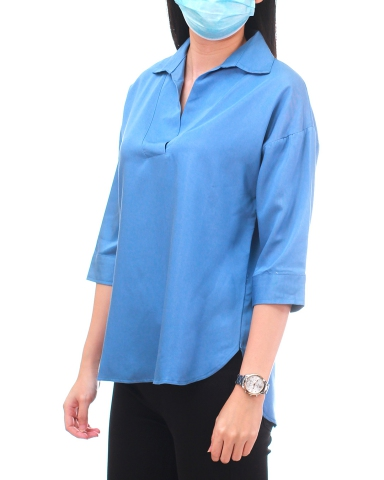 YVONNE COLLARED 3/4 SLEEVE BLOUSE IN MID BLUE