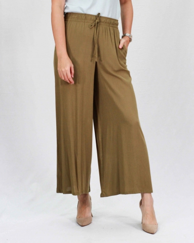 RAINE SOLID FLARED LONG PANTS IN DARK ARMY