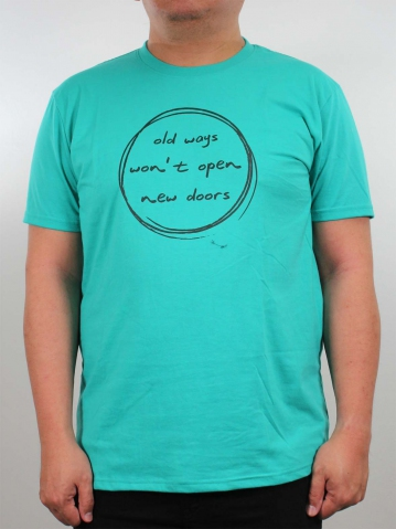 MEN PLUS SIZE OLD WAYS GRAPHIC TEE IN MID TEAL