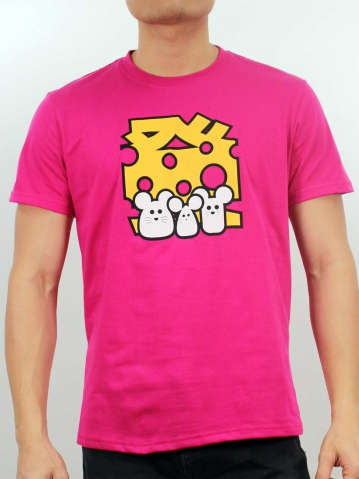 MEN GET RICH WITH MOUSE GRAPHIC TEE IN FUCHSIA