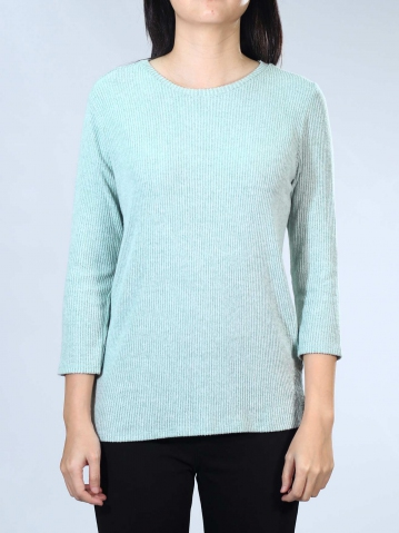 NEOL ROUND NECK 3/4 SLEEVE TOP IN LIGHT GREEN