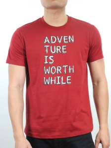 MEN ADVENTURE IS WORTH WHILE GRAPHIC TEE IN MAROON