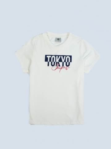 GIRLS TOKYO JAPAN GRAPHIC TEE IN OFF WHITE