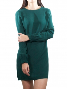 ELLA ROUND NECK LONG SLEEVE DRESS IN DARK OLIVE