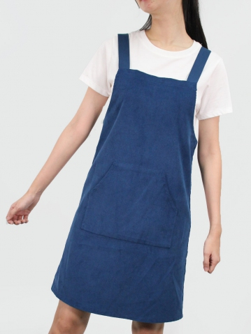 JANE CORDUROY PINAFORE DRESS IN DARK BLUE