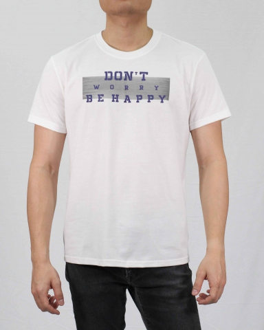 MEN DONT WORRY BE HAPPY GRAPHIC TEE IN OFF WHITE