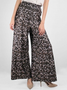 HEBE FLARED LONG PANTS IN DARK BROWN