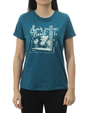 WOMEN SUMMER VIBES GRAPHIC TEE IN DARK TEAL