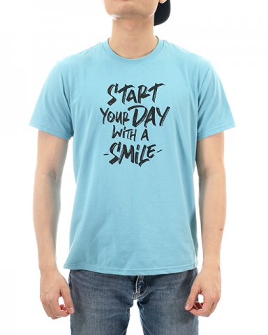 MEN START YOUR DAY GRAPHIC TEE IN LIGHT BLUE