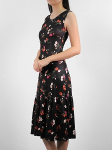 HEBE PRINTED SLEEVELESS DRESS IN BLACK