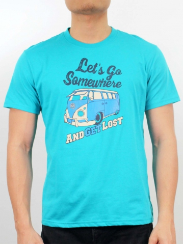 MEN LETS GO SOMEWHERE GRAPHIC TEE IN TURQUOISE