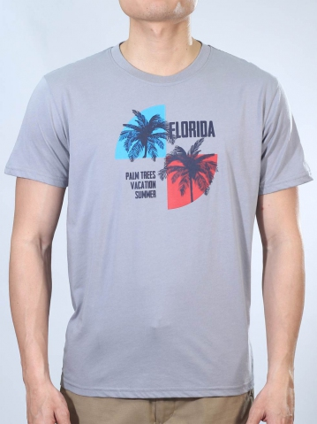 MEN FLORIDA PALM TREES GRAPHIC TEE IN MID GREY