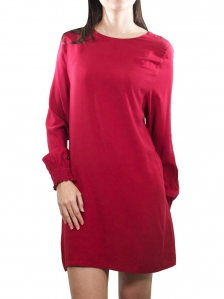 ELLA ROUND NECK LONG SLEEVE DRESS IN MAROON
