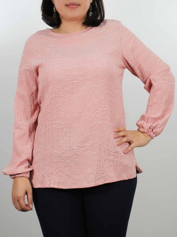 JENNY ROUND NECK LONG SLEEVE BLOUSE IN PEACH