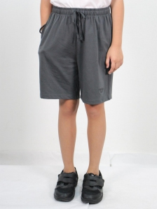 HANNA SOLID KNIT BERMUDA SHORTS IN DARK GREY