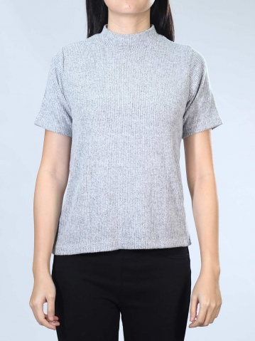 NEOL CREW NECK FRENCH SLEEVE TOP IN MELANGE