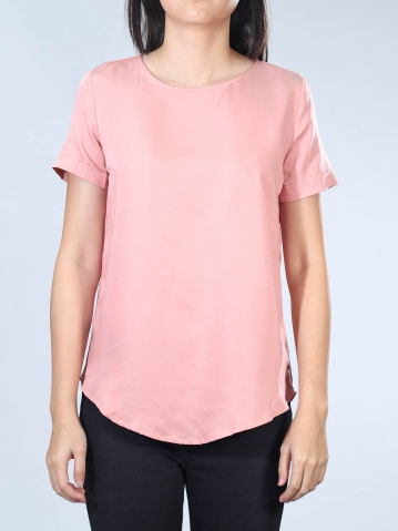 NEOL ROUND NECK SHORT SLEEVE BLOUSE IN MID PINK