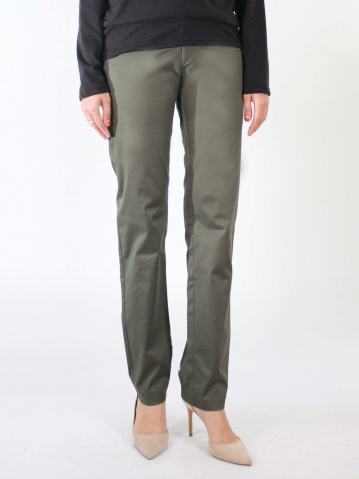 KATE COTTON LONG PANTS IN DARK ARMY