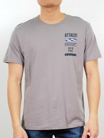 MIKE DAY OF PEACE SHORT SLEEVE TOP IN MID GREY