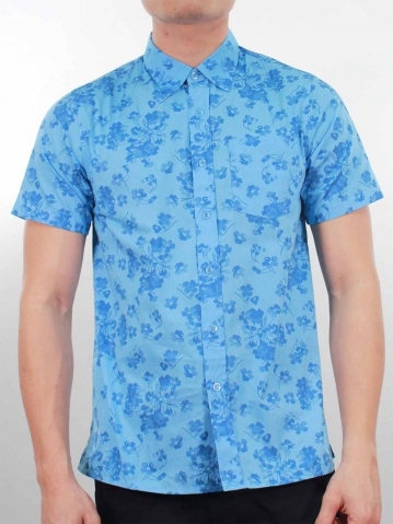 KENNY PRINTED SHORT SLEEVE SHIRT IN LIGHT BLUE