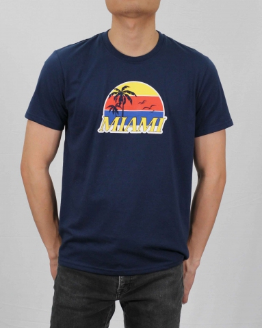 MEN MIAMI GRAPHIC TEE IN DARK NAVY