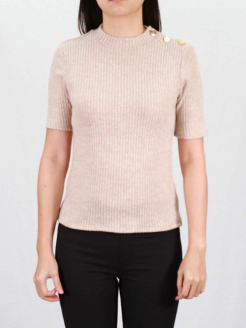 RAINE CREW NECK SHORT SLEEVE TOP IN DARK BEIGE
